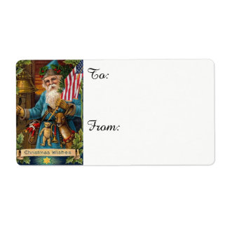 Etiqueta Brinquedos de Papai Noel & bandeira americana