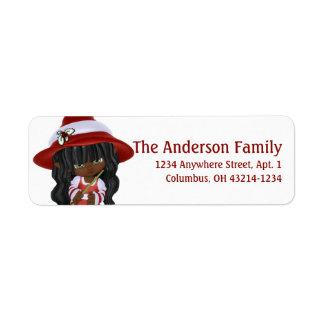 Etiqueta Bruxa pequena do Natal do afro-americano