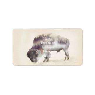 Etiqueta búfalo-paisagem exposição-americana Búfalo-dobro