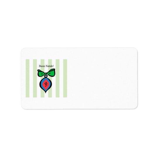 Etiqueta Buon verde vermelho/azul de Natale do ornamento de