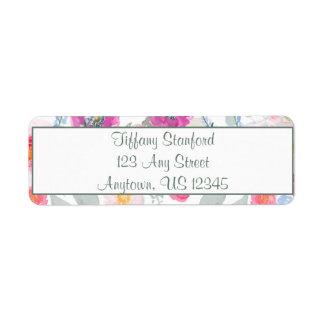 Etiqueta Buquê cor-de-rosa | da aguarela personalizado