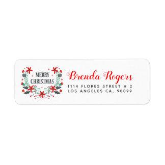 Etiqueta Buquê do Feliz Natal & tipografia moderna