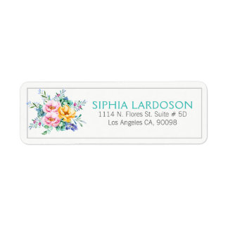 Etiqueta Buquê floral colorido das aguarelas modernas