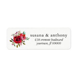 Etiqueta Buquê Watercol cor-de-rosa do casamento da