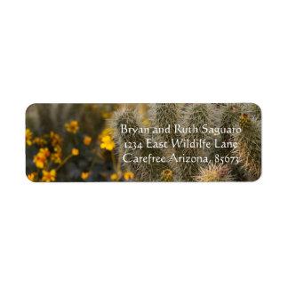 Etiqueta cacto e wildflowers