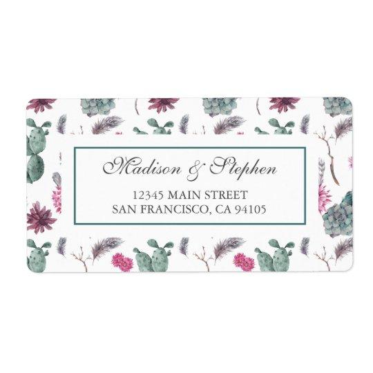 Etiqueta Cacto, Succulent & floral de Boho - casamento