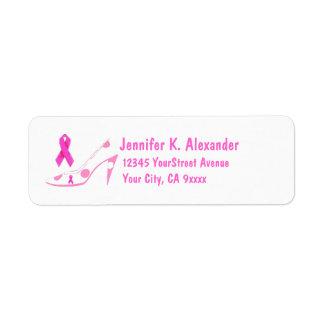 Etiqueta Calçados cor-de-rosa do cancro da mama da fita