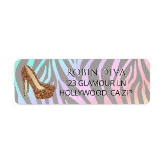 Etiqueta Calçados Glam do salto alto do ouro feminino da