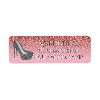Etiqueta Calçados Glam femininos do salto alto do brilho  