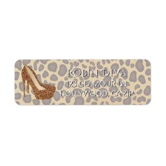 Etiqueta Calçados Glam femininos do salto alto do impressão