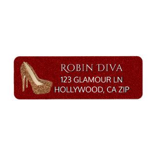 Etiqueta Calçados Glam vermelhos do salto alto do ouro do