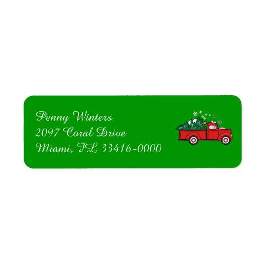 Etiqueta Caminhão clássico com a árvore do feriado na neve