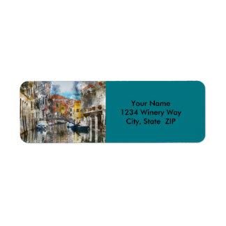 Etiqueta Canais da aguarela de Veneza Italia