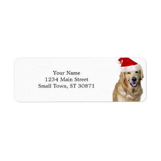 Etiqueta Cão-animal de estimação do cão-papai noel de claus
