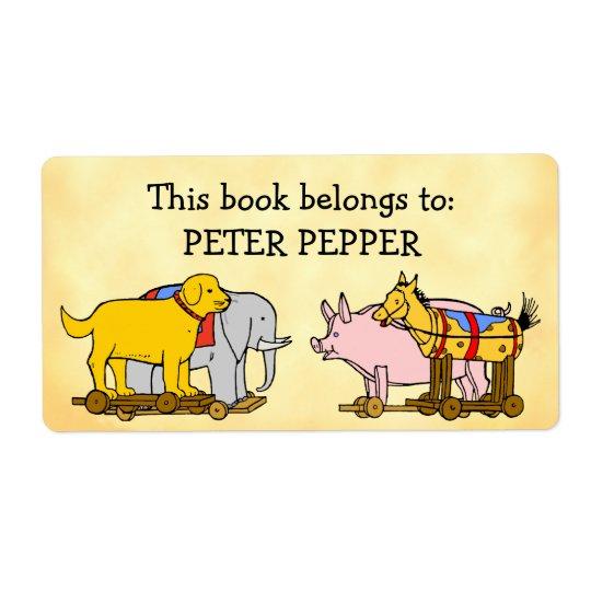 Etiqueta Cão, cavalo e porco feitos sob encomenda de