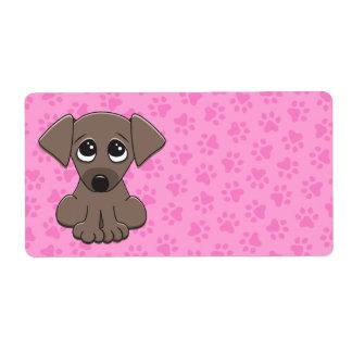 Etiqueta Cão de filhote de cachorro bonito, marrom no