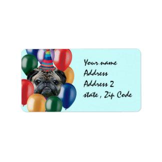 Etiqueta Cão do pug do feliz aniversario