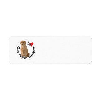 Etiqueta Cão engraçado & bonito adorável feliz do golden