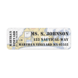 Etiqueta Carta de navegação náutica do Martha's Vineyard