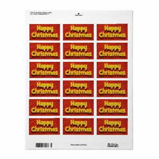 Etiqueta Cartão de Natal feliz/etiqueta 2 cumprimentos do