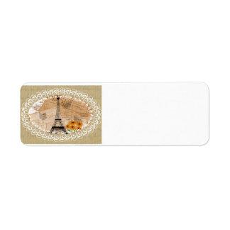 Etiqueta Cartão do francês da torre Eiffel