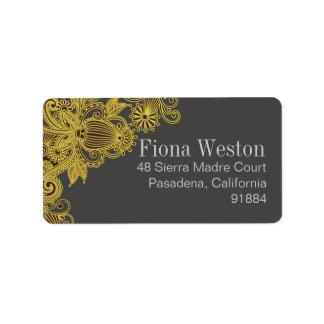Etiqueta Carvão vegetal amarelo asteca de Paisley