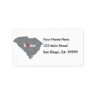 Etiqueta Casa cinzenta de SOUTH CAROLINA & coração aberto