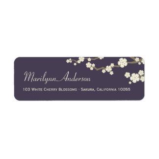 Etiqueta Casamento asiático das flores de cerejeira de