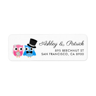 Etiqueta Casamento bonito dos noivos da coruja