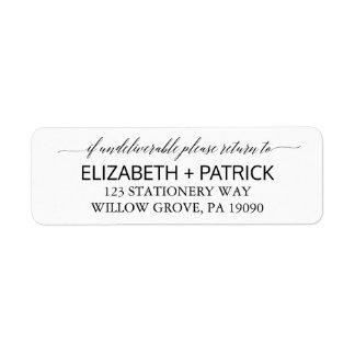 Etiqueta Casamento branco e preto elegante da caligrafia