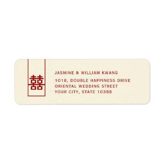 Etiqueta Casamento chinês moderno da felicidade dobro