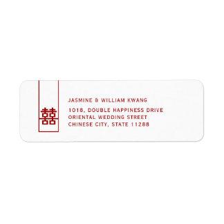 Etiqueta Casamento chinês moderno da felicidade dobro alta
