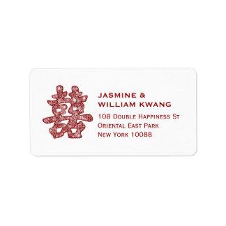 Etiqueta Casamento chinês Papercut floral da felicidade