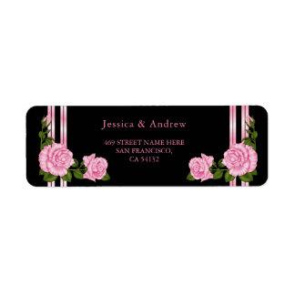 Etiqueta Casamento cor-de-rosa do buquê do canto chique