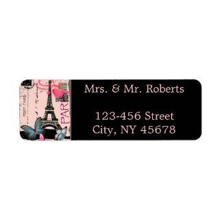 Etiqueta casamento cor-de-rosa do destino da torre Eiffel