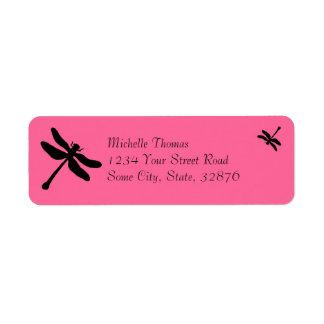Etiqueta Casamento cor-de-rosa e preto da libélula