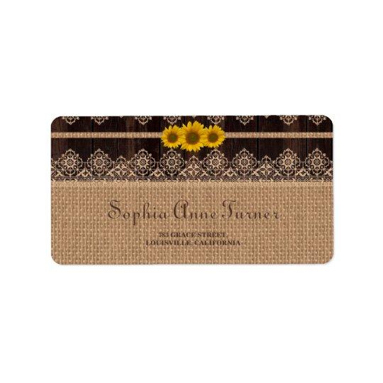 Etiqueta Casamento de madeira de serapilheira rústica do