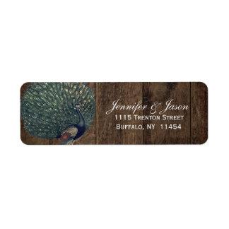 Etiqueta Casamento de madeira rústico do pavão da pena da
