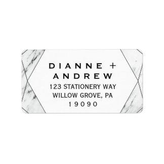 Etiqueta Casamento de mármore geométrico branco e preto