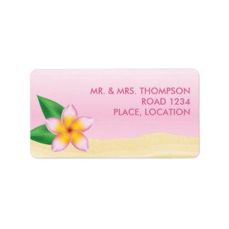 Etiqueta Casamento de praia tropical da flor do Frangipani