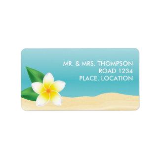 Etiqueta Casamento de praia tropical do Frangipani branco