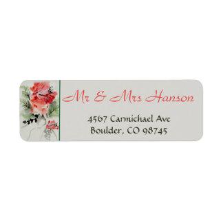 Etiqueta Casamento do hibiscus da aguarela