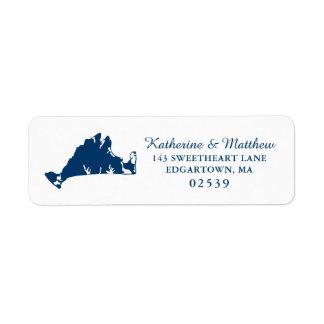 Etiqueta Casamento do mapa do vinhedo de Marthas dos azuis
