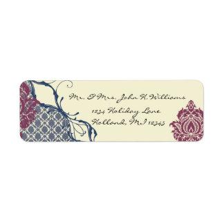 Etiqueta Casamento elegante do pavão do damasco da baga do