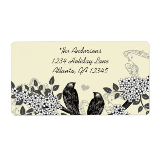 Etiqueta Casamento Enchanted do pássaro do amor da floresta