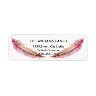 Etiqueta Casamento feminino cor-de-rosa do pavão do pássaro