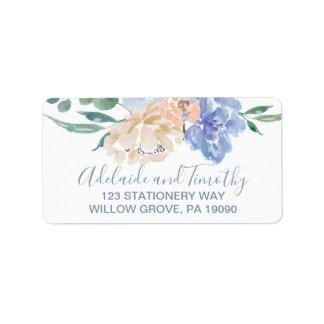 Etiqueta Casamento floral azul empoeirado