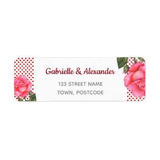 Etiqueta Casamento floral botânico da arte do rosa do rosa