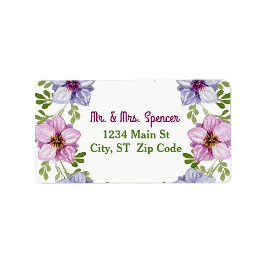 Etiqueta Casamento floral cor-de-rosa roxo da grinalda