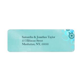 Etiqueta Casamento floral de turquesa azul escura da